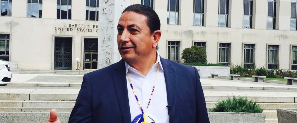 PHOTO: Dave Archambault, chairman of the Standing Rock Sioux Tribe, stands outside court in Washington courthouse, on Oct. 5, 2016, where appeals court judges heard his tribes challenge to the Dakota Access pipeline.