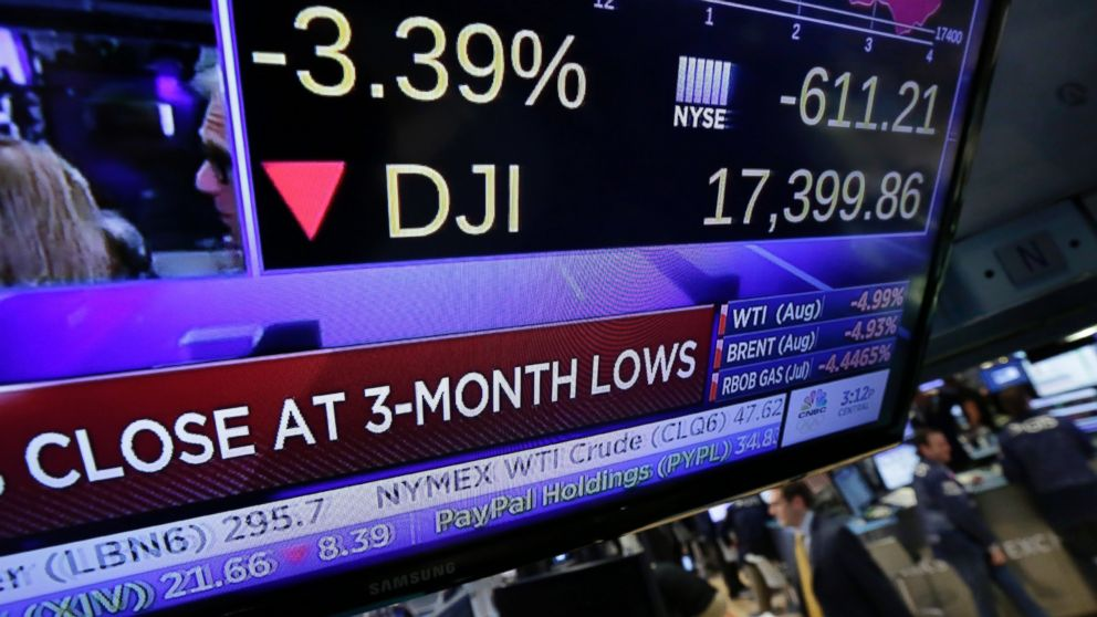 A television screen on the floor of the New York Stock Exchange shows the closing number for the Dow Jones industrial average, June 24, 2016.