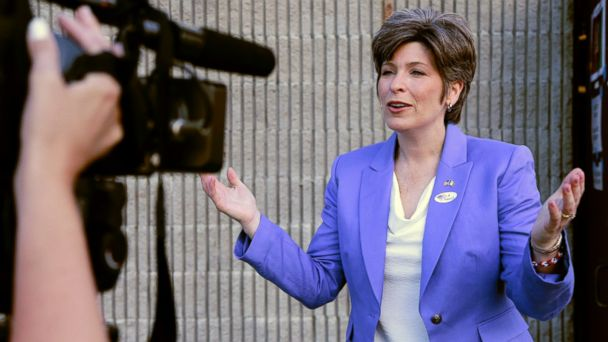 PHOTO: Republican U.S. Senate candidate Joni Ernst talks to a television reporter after casting her vote in Iowas Republican primary in Red Oak, Iowa, Tuesday, June 3, 2014.