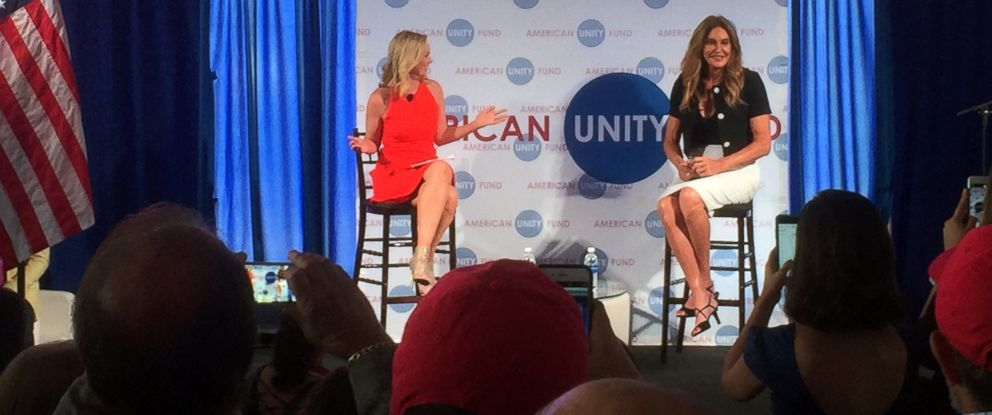 PHOTO: Caitlyn Jenner, right, speaks at an American Unity Fund brunch at the Rock and Roll Hall of Fame in Cleveland, Ohio, July 20, 2016, on the sidelines of the Republican National Convention.