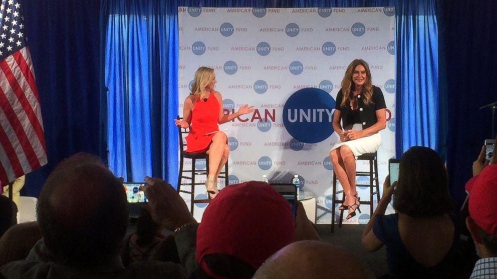 Caitlyn Jenner, right, speaks at an American Unity Fund brunch at the Rock and Roll Hall of Fame in Cleveland, Ohio, July 20, 2016, on the sidelines of the Republican National Convention.