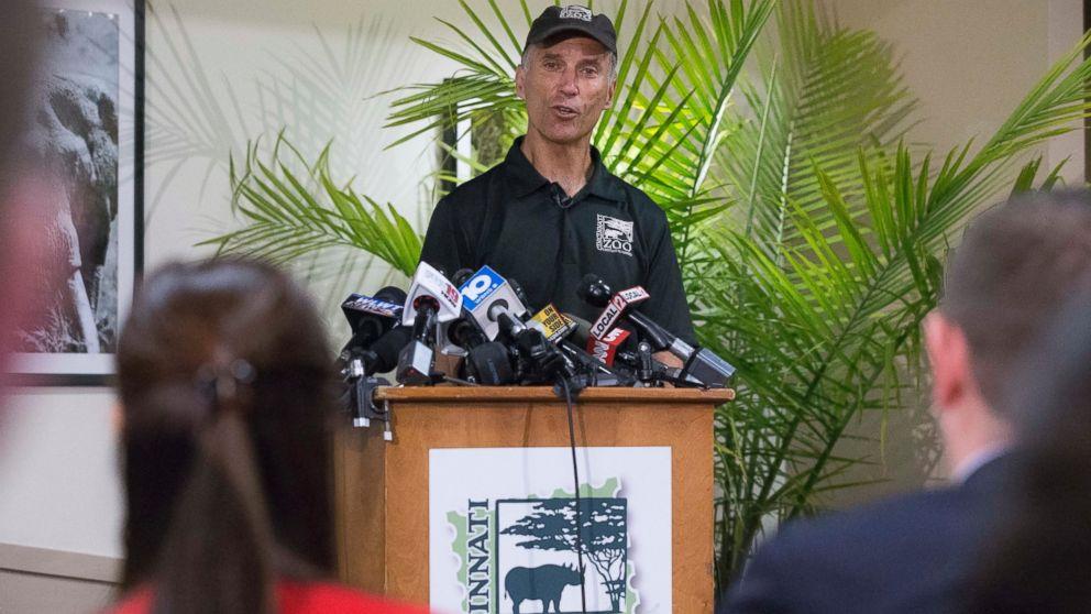 Thane Maynard, director of the Cincinnati Zoo & Botanical Garden, speaks during a news conference, May 30, 2016, in Cincinnati.