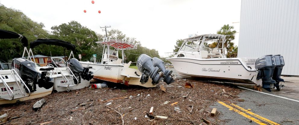 PHOTO: Debris and boats are scattered across the road after Hurricane Hermine passed the area, Sept. 2, 2016, in Steinhatchee, Florida.
