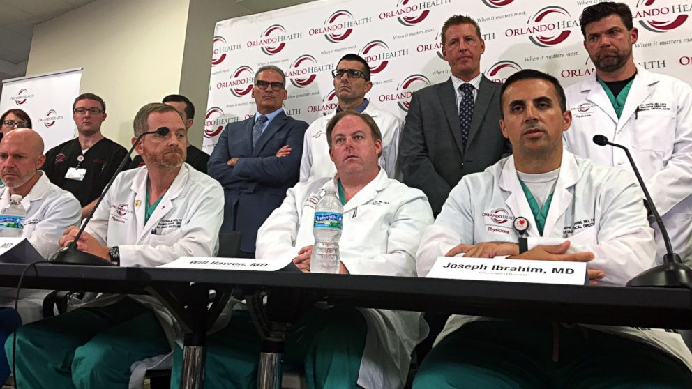 Doctors and medical staff that treated the victims of the Pulse nightclub shooting answer questions at a news conference at the Orlando Regional Medical Center, June 14, 2016, in Orlando, Florida.