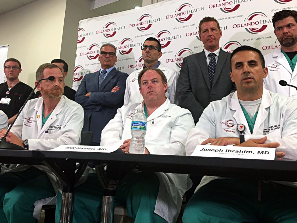 PHOTO: Doctors and medical staff that treated the victims of the Pulse nightclub shooting answer questions at a news conference at the Orlando Regional Medical Center, June 14, 2016, in Orlando, Florida.