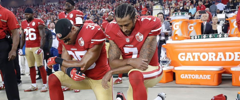 PHOTO: San Francisco 49ers safety Eric Reid (35) and quarterback Colin Kaepernick (7) kneel during the national anthem before an NFL football game against the Los Angeles Rams in Santa Clara, Calif., Monday, Sept. 12, 2016.