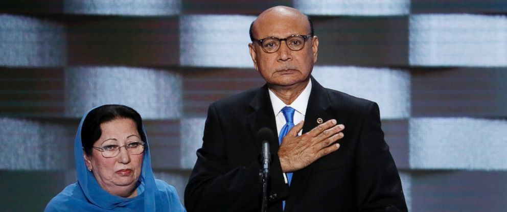 PHOTO: Khizr Khan, father of fallen US Army Capt. Humayun S. M. Khan, and his wife Ghazala speak during the final day of the Democratic National Convention in Philadelphia, July 28, 2016.