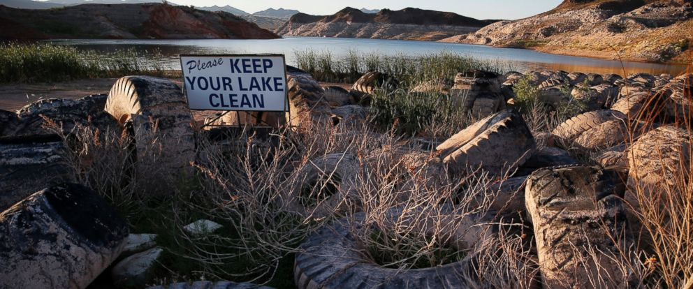 PHOTO: Tires that were once under water are now exposed above the water line at the defunct Echo Bay Marina in the Lake Mead National Recreation Area, May 19, 2016. Lake Meads surface was at its lowest level Wednesday since the reservoir was created.
