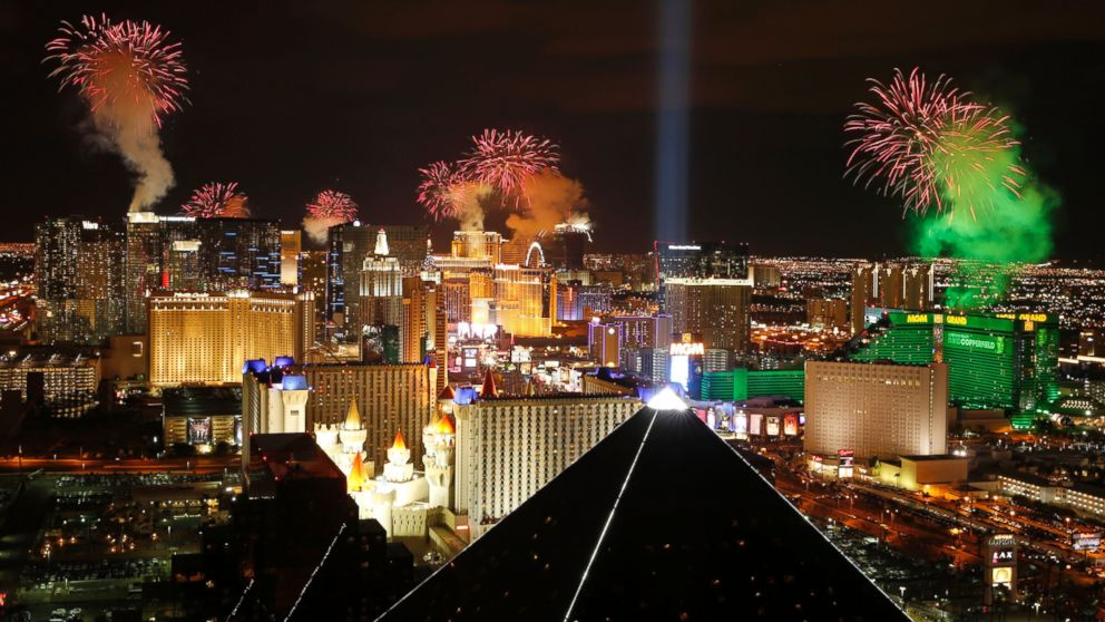 Fireworks explode above the Strip to ring in the new year Thursday, Jan. 1, 2015, in Las Vegas.
