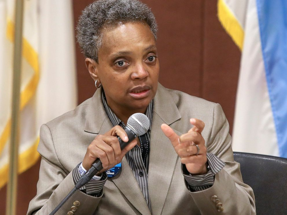 PHOTO: In this March 24, 2019 photo, Chicago mayoral candidate Lori Lightfoot participates in a candidate forum sponsored by One Chicago For All Alliance at Daley College in Chicago.