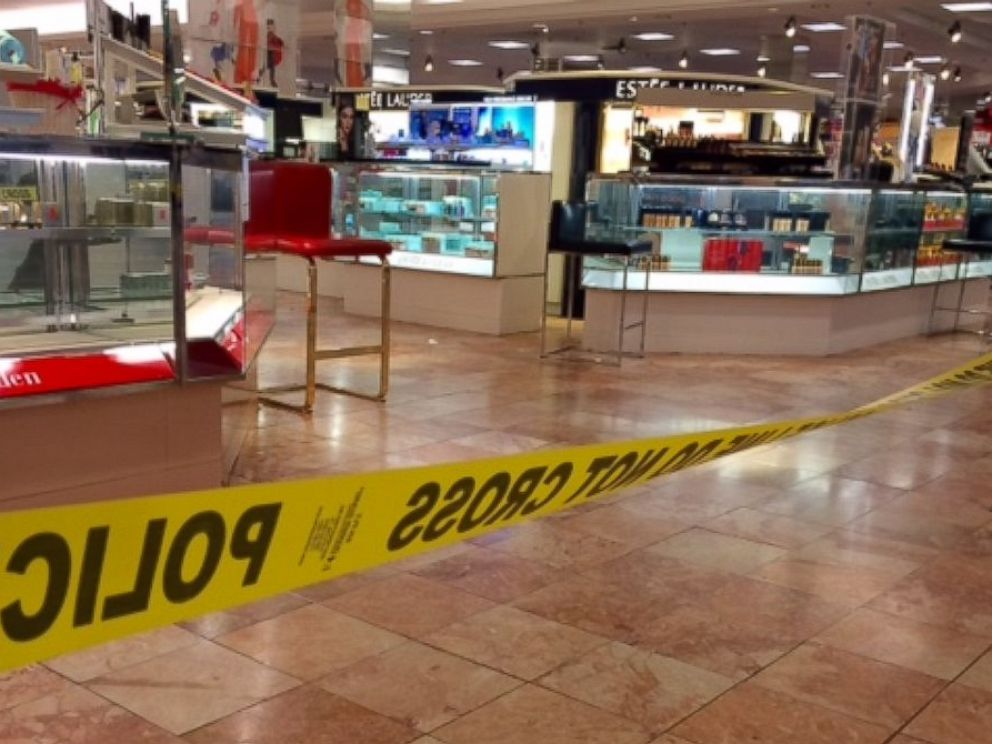 PHOTO: Crime scene tape is seen inside the Macys at the Silver City Galleria mall in Taunton, Mass., May 10, 2016. Multiple people have been stabbed separate attacks at the mall and a home in Massachusetts.