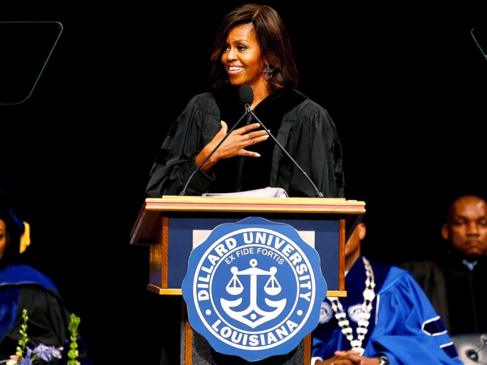 PHOTO: First lady Michelle Obama delivers the commencement address to graduates of Dillard University in New Orleans, May 10, 2014.