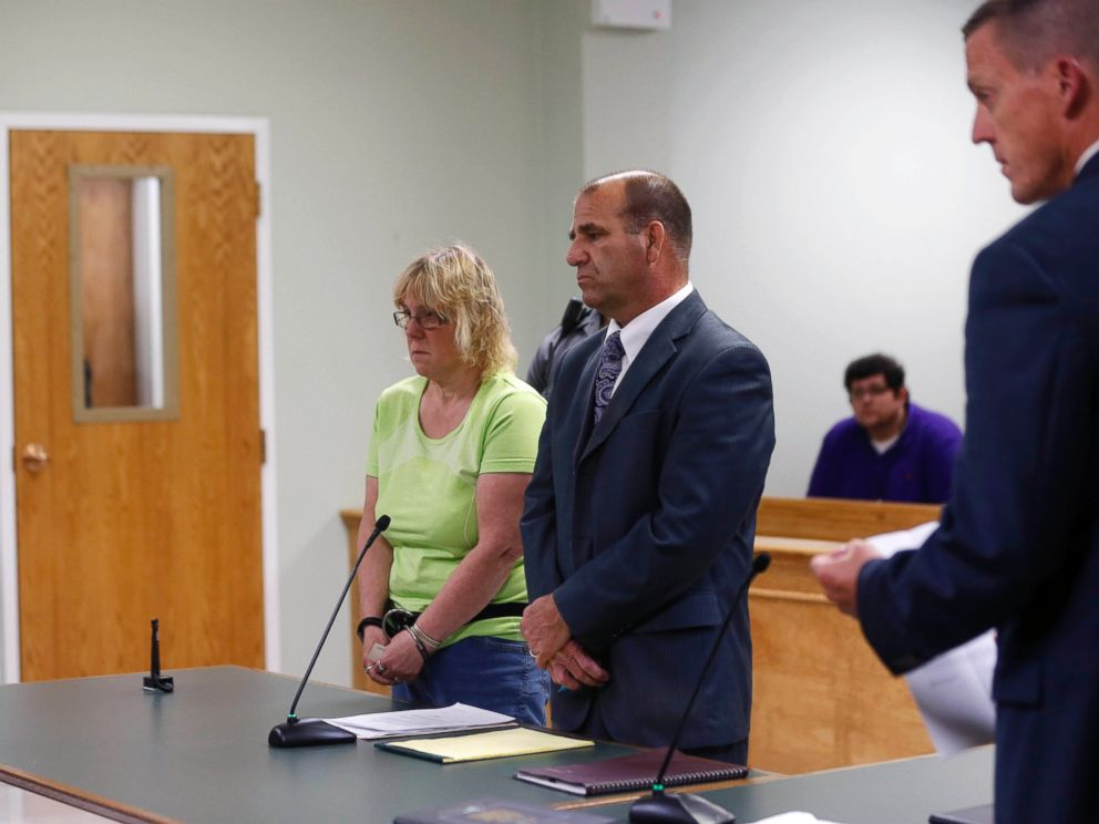 PHOTO: Joyce Mitchell, left, stands with her attorney Keith Bruno as she is arraigned in City Court on Friday, June 12, 2015, in Plattsburgh, N.Y.