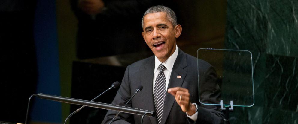 PHOTO: President Barack Obama speaks at the United Nations Sustainable Development Summit, Sept. 27, 2015, at the United Nations headquarters.