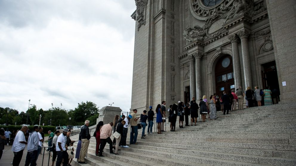 The long line outside the St. Paul Cathedral for the funeral of Philando Castile, July 14, 2016, at St. Paul Cathedral in St. Paul, Minnesota.