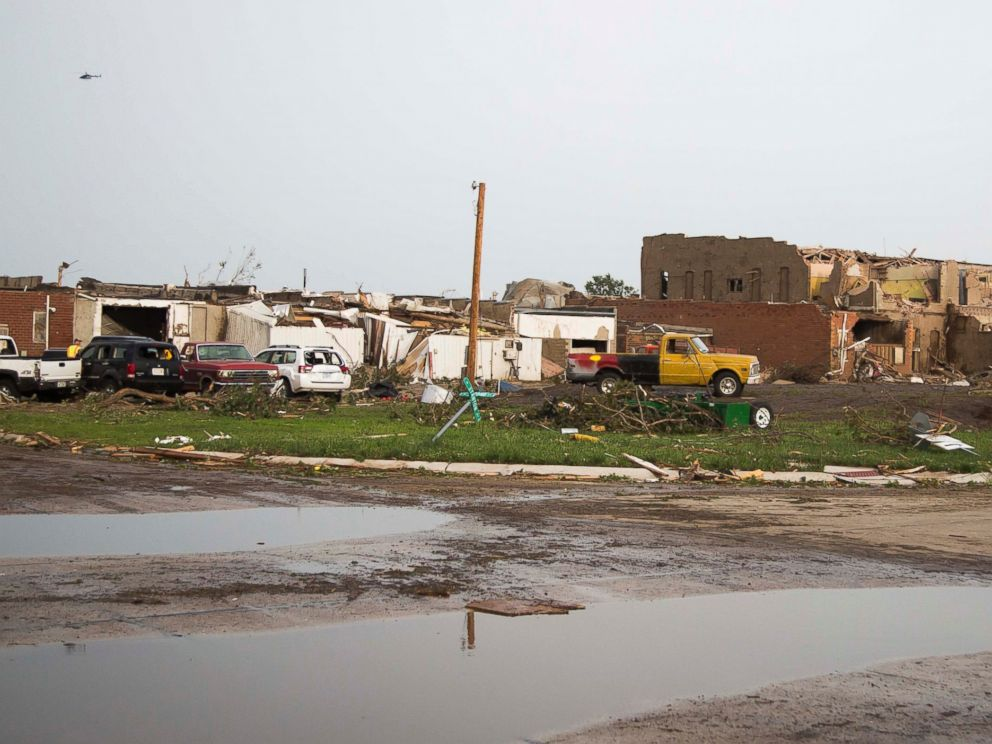 PHOTO: Severely damaged homes and buildings are seen after a tornado, June 16, 2014, in Pilger, Neb.