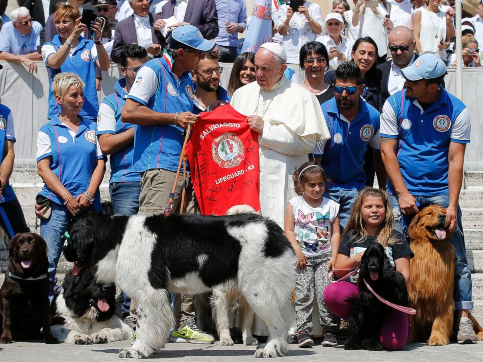 PHOTO: Pope Francis meets with members of a Lifeguard school and their dogs from the Apulian town of Bari, at the end of his weekly general audience in St. Peters Square at the Vatican, June 8, 2016.