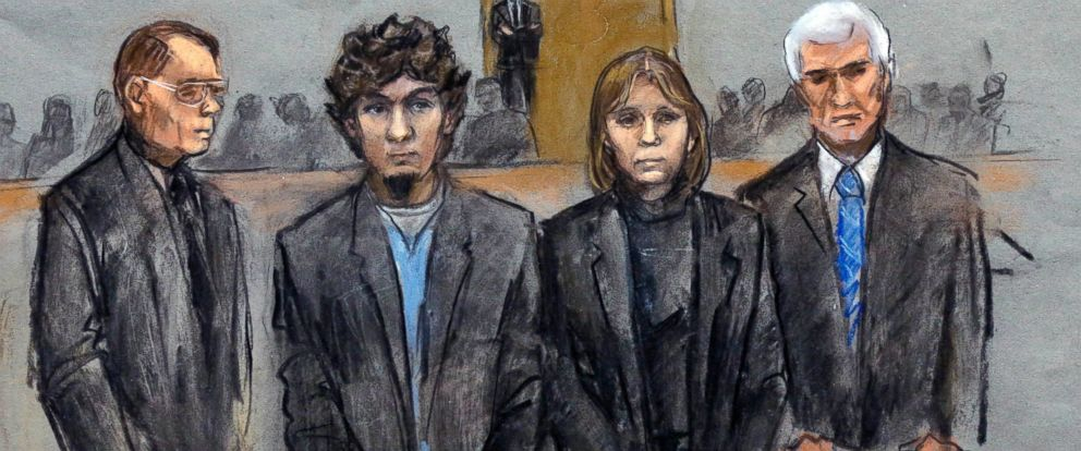 PHOTO: Dzhokhar Tsarnaev, second from left, is depicted standing with his defense attorneys William Fick, left, Judy Clarke, second from right, and David Bruck as the jury presents the verdict in his federal death penalty trial, April 8, 2015, in Boston.