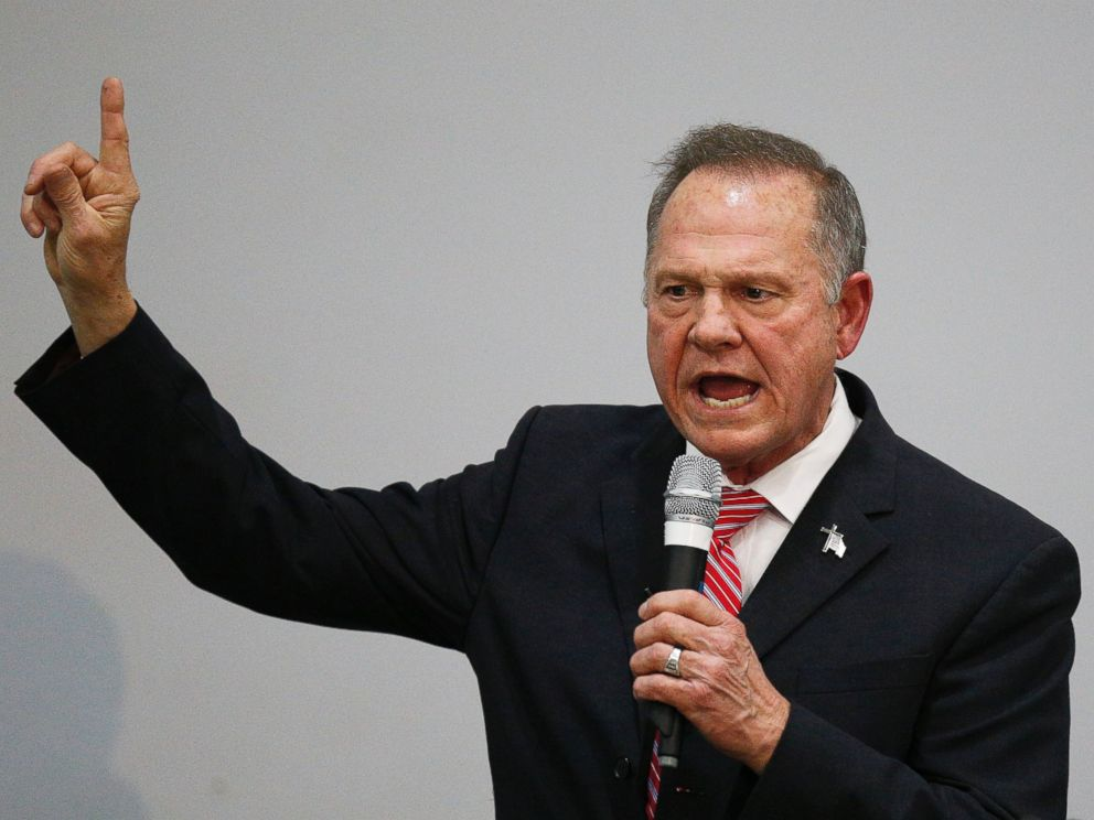 Former Alabama Chief Justice and U.S. Senate candidate Roy Moore speaks at a church revival, Tuesday, Nov. 14, 2017, in Jackson, Ala.
