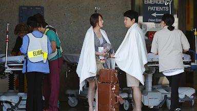 PHOTO: Passengers from Asiana Flight 214 are treated at San Francisco General Hospital after the plane crashed at San Francisco International Airport in San Francisco, Saturday, July 6, 2013.