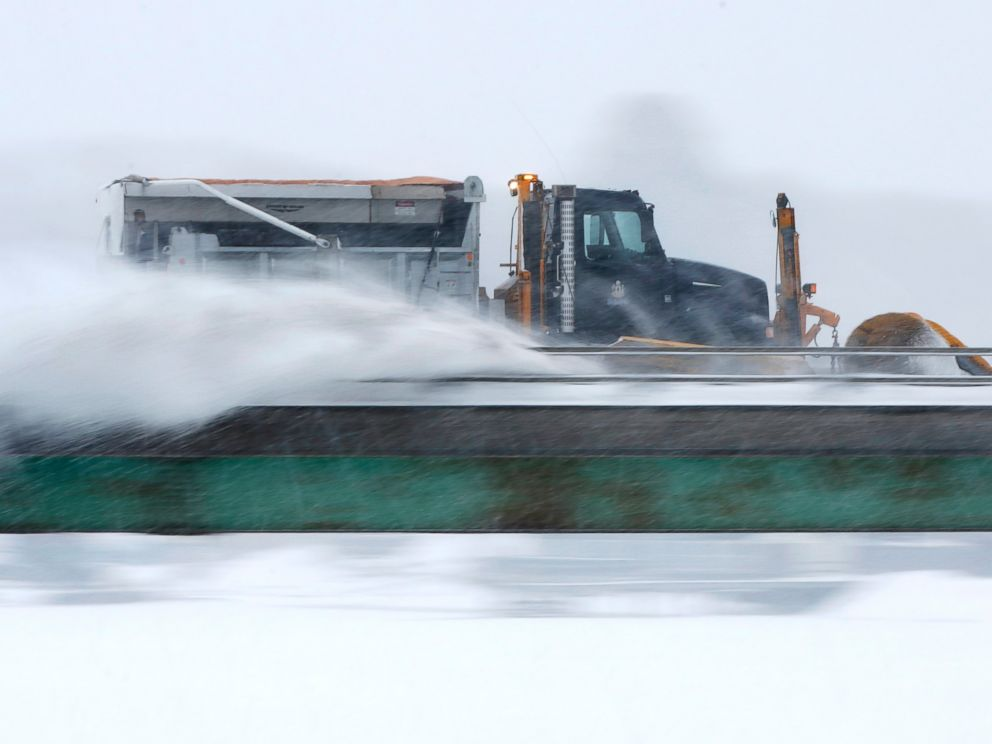 PHOTO: A plow clears snow on I-295 during a winter storm, Feb. 2, 2015, in Yarmouth, Maine.