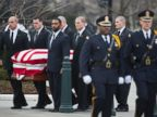 PHOTO: The body of Supreme Court Justice Antonin Scalia arrives at the Supreme Court in Washington, Feb. 19, 2016.