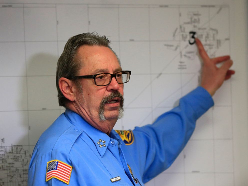 PHOTO: Harvey County Sheriff T. Walton points out one of the shooting locations on a map from Thursdays attack at the Excel Industries during a news conference at the Law Enforcement Center in Newton, Kan., Friday, Feb. 26, 2016.