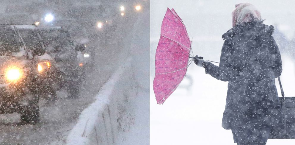 PHOTO: PHOTO: Snow fell across the Northeast Tuesday, Jan. 21, 2014, leading to treacherous driving conditions - as well as problems for pedestrians.