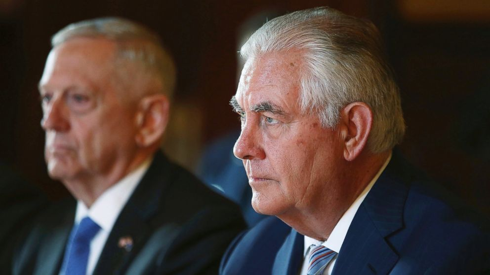 In this June 5, 2017, file photo, U.S. Secretary of State Rex Tillerson, right, and U.S. Secretary of Defense Jim Mattis participate in talks at Government House in Sydney.