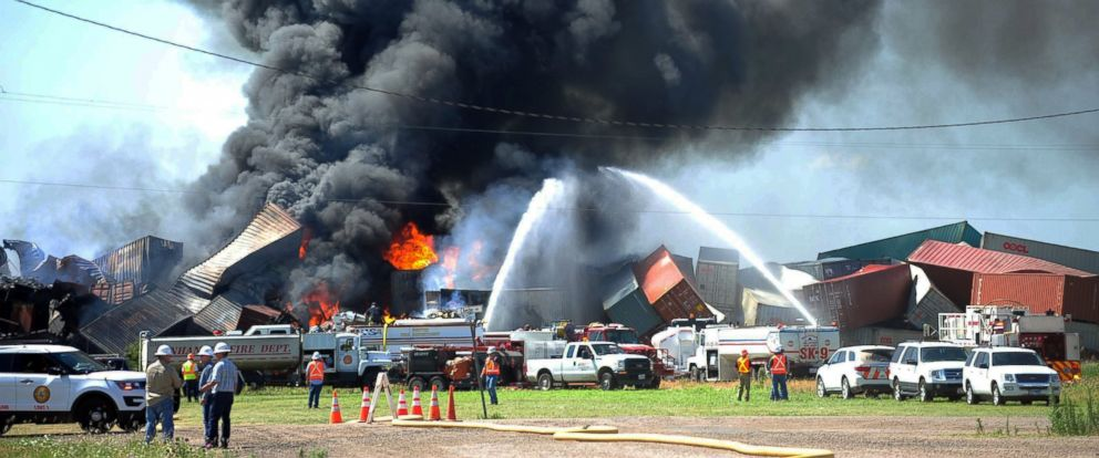 PHOTO: Three crew members were missing and one was hurt, June 28, 2016, after a head-on train collision in Panhandle, Texas, that caused several box cars to erupt in flames and led authorities to evacuate residents in the area.