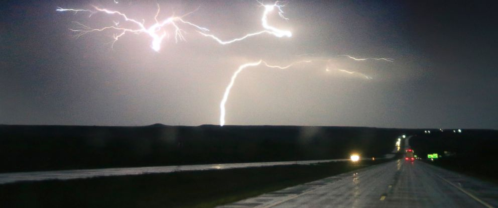 PHOTO: Lightning strikes along Interstate 70 near Junction City, Kan., April 26, 2016.