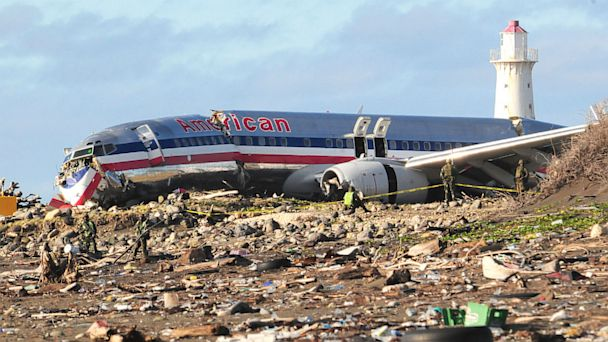 PHOTO: American Airlines flight AA331 crash landed at Kingston, Jamaica airport