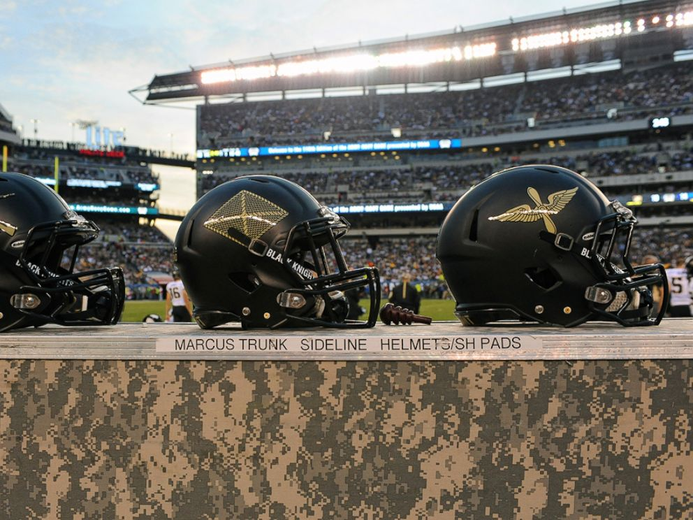PHOTO: The Army Black Knights helmets are seen at Lincoln Financial Field in Philadelphia, Dec. 12, 2015.