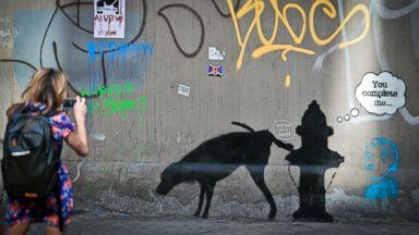 PHOTO: Graffiti by Banksy draws attention
