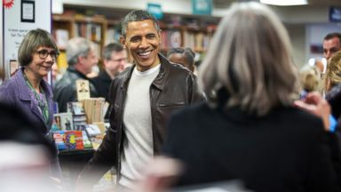 PHOTO: President Barack Obama greets shoppers at the local Politics and Prose bookstore in northwest Washington, Saturday, Nov. 30, 2013.