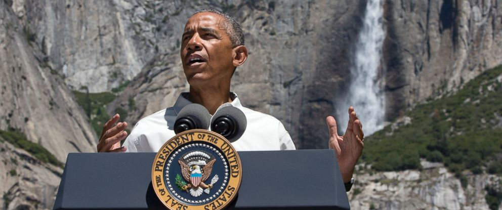 PHOTO: President Barack Obama speaks by the Sentinel Bridge in the Yosemite Valley, in front of Yosemite Falls which is the highest waterfall in the park at Yosemite National Park, Calif., June 18, 2016.