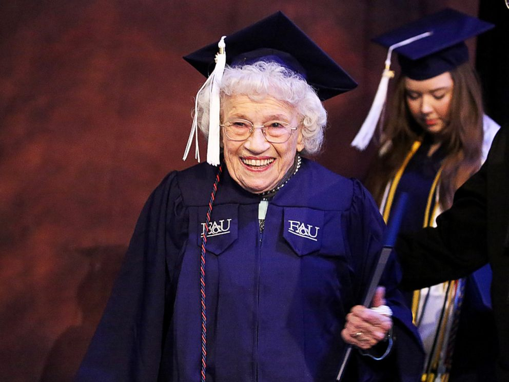 PHOTO: Betty Reilly walks across the stage at Florida Atlantic University to receive a Bachelor of Arts degree in English, Dec. 10, 2015 in Boca Raton, Fla.
