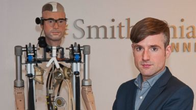 "Bertolt Meyer, a social psychologist for the University of Zurich, poses for a photo in New York, Oct. 9, 2013. Meyer is the face of the the Bionic Man and is featured in the Smithsonian Channel original documentary, ""The Incredible Bionic Man."""