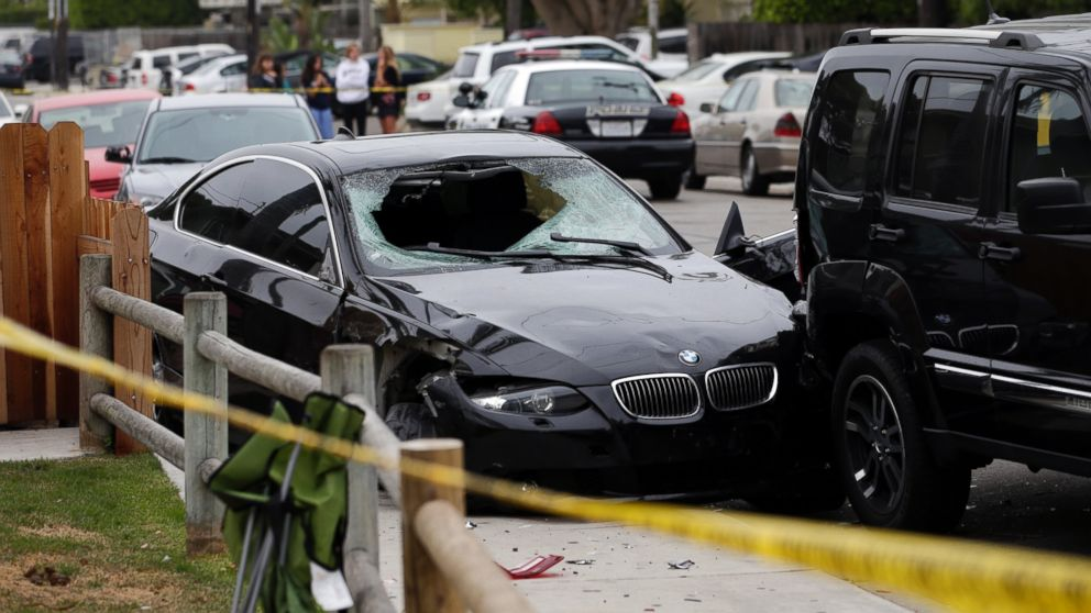 A black BMW sedan driven by a drive-by shooter is seen on Saturday, May 24, 2014, in Isla Vista, Calif.