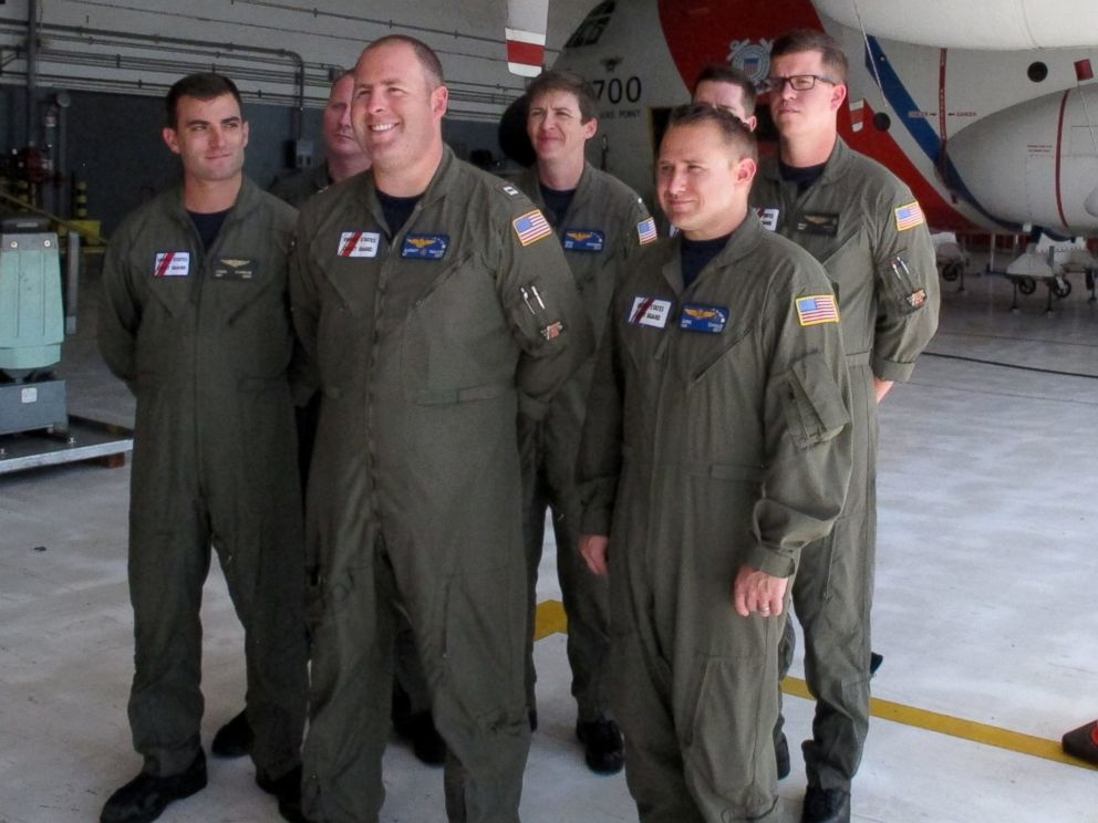PHOTO: A U.S. Coast Guard crew poses for a photo at the U.S. Coast Guard Air Station Barbers Point in Kapolei, Hawaii, Aug. 11, 2014.