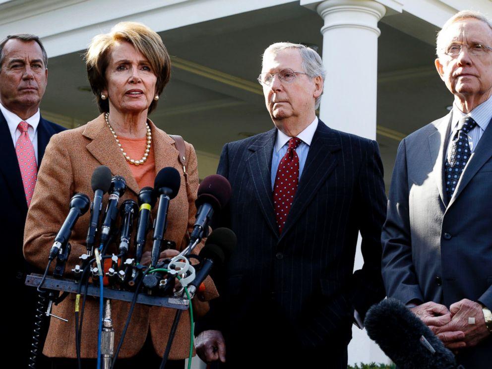 PHOTO: Pictured (L-R) are House Speaker John Boehner of Ohio, House Minority Leader Nancy Pelosi of Calif., Senate Minority Leader Mitch McConnell of Ky., and Senate Majority Leader Harry Reid of Nev., outside the White House in Washington, Nov. 16, 2012.