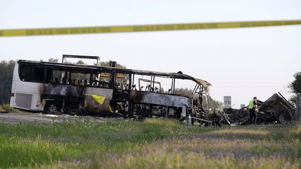 Bus Immediately Engulfed in Flames After Collision With