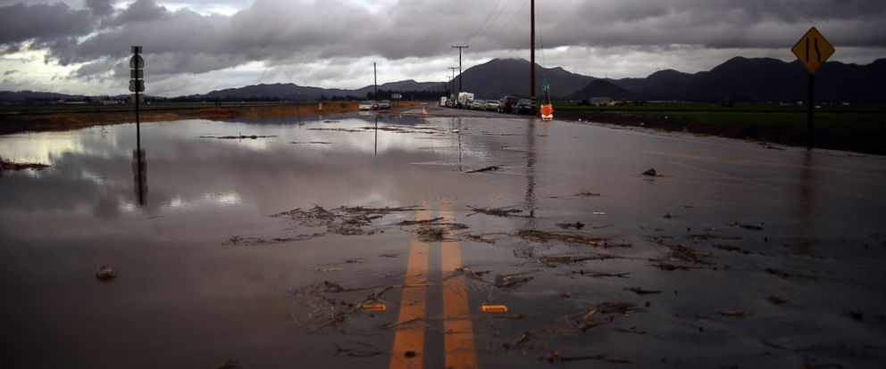 PHOTO: Water covers a closed Las Posas Road near Camarillo, Calif., after heavy rain from the first in a series of El Nino storms passed over the area in this Jan. 6, 2016 file photo.