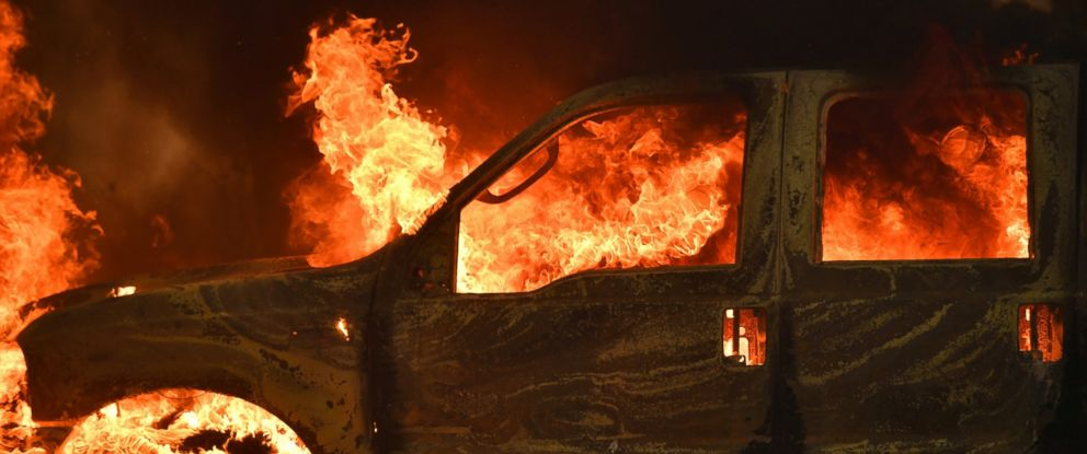 PHOTO: A truck burns on Main Street in the town of Lower Lake, California, Aug. 14, 2016.