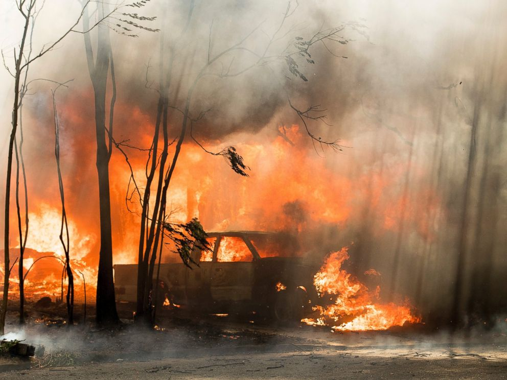 PHOTO: A truck burns in the town of Lower Lake, California, Aug. 14, 2016.