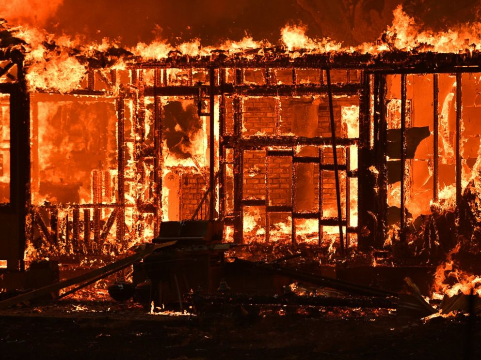 PHOTO: A home burns near the town of Lower Lake, California, Aug. 14, 2016.