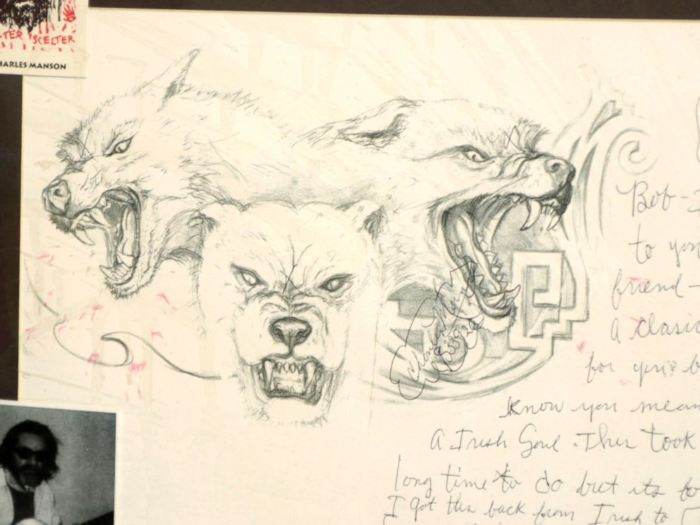 PHOTO: A piece of artwork from Charles Manson to Bob George in Dodge City, Kan.