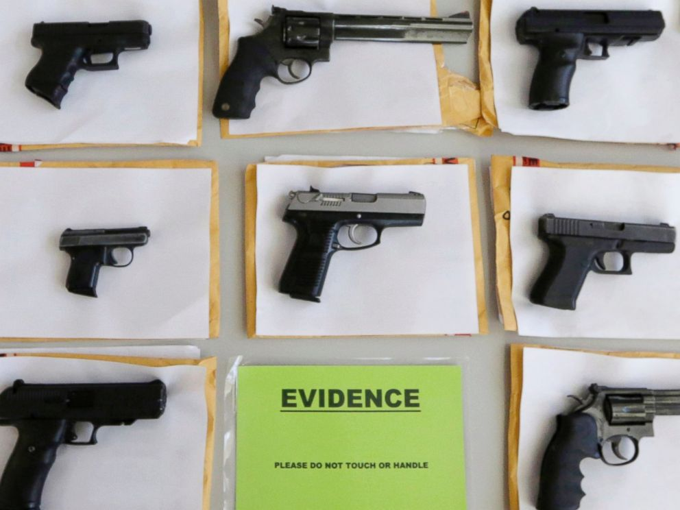 PHOTO: In this July 7, 2014 file photo, Chicago police display some of the thousands of illegal firearms they confiscated during the year in their battle against gun violence in Chicago.