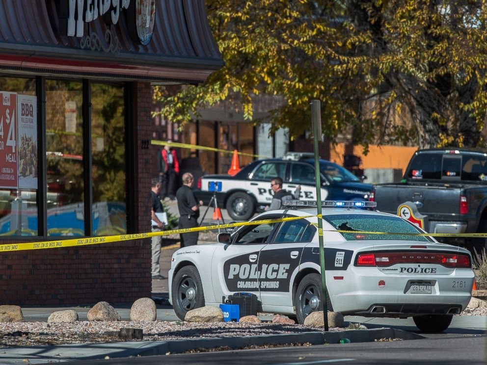 PHOTO: The rear window of a Colorado Springs Police car is shattered after a shooting, Oct. 31, 2015, in Colorado Springs, Colo.