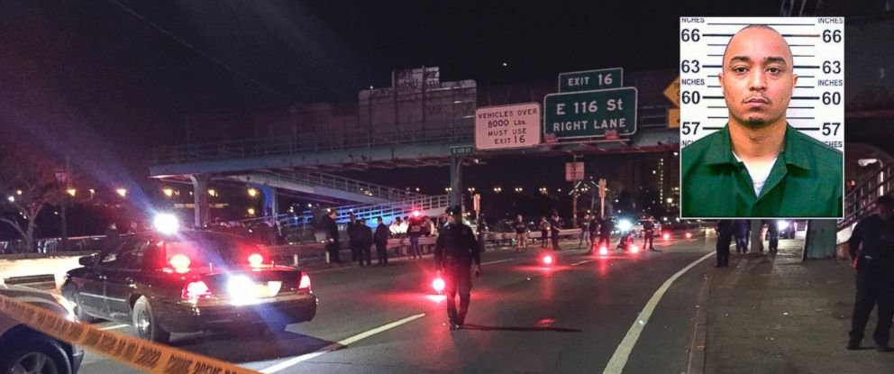 PHOTO:Police officers investigate along FDR Drive at East 120 Street on Tuesday, Oct. 20, 2015, in New York where a New York City police officer was fatally shot. Inset: NYS Dept of Corrections released this undated file photo of Tyrone Howard.